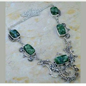 Green Solar Quartz Handcrafted 925 Necklace